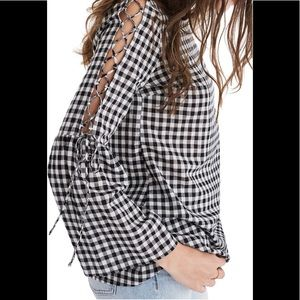 NWT Lace Up Sleeve Gingham Top